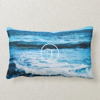 Ocean waves photo custom monogram lumbar pillow