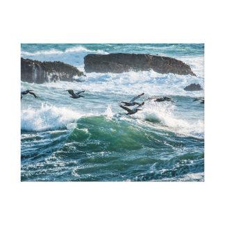 Ocean Waves, Rocks, and Sea Birds Canvas Print