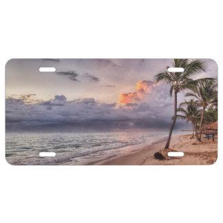 Ocean Waves Sandy Beach Sunset License Plate