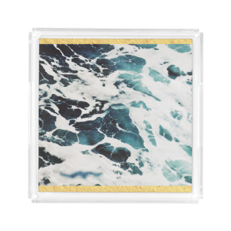 ocean waves sea nature blue water beautiful acrylic tray