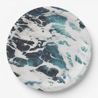 ocean waves sea nature blue water beautiful paper plate