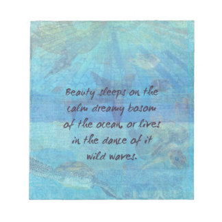 Ocean waves sea quote with sea life notepad