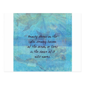 Ocean waves sea quote with sea life postcard