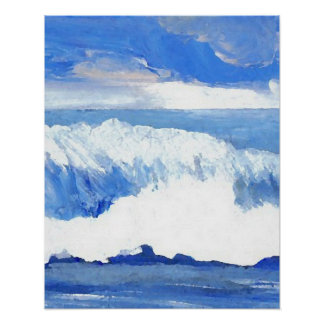 Ocean Waves Taste of the Sea Blue Decor Poster