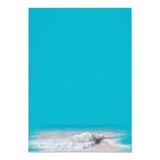 Ocean Waves Turquoise Wedding Blank Paper Card