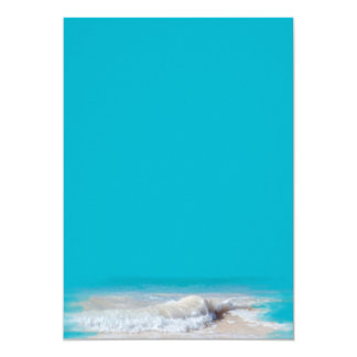 "Ocean Waves Turquoise Wedding Blank Paper 5"" X 7"" Invitation Card"
