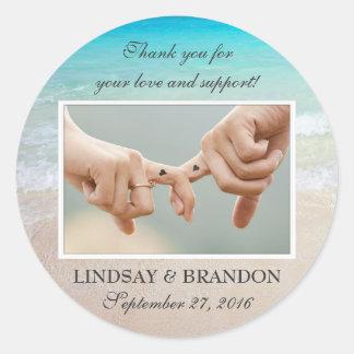 Ocean Wedding Photo Thank You Favour Labels Round Sticker