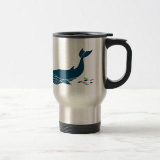 Ocean Whale with little fish Travel Mug
