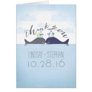 Ocean Whales Couple Wedding Thank You Card