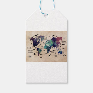 ocean world map gift tags