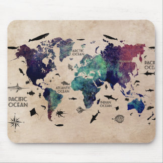 ocean world map mouse pad