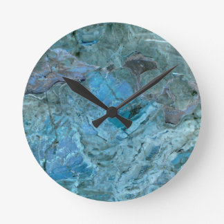 Oceania Teal & Blue Marble Round Clock
