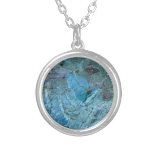 Oceania Teal & Blue Marble Silver Plated Necklace