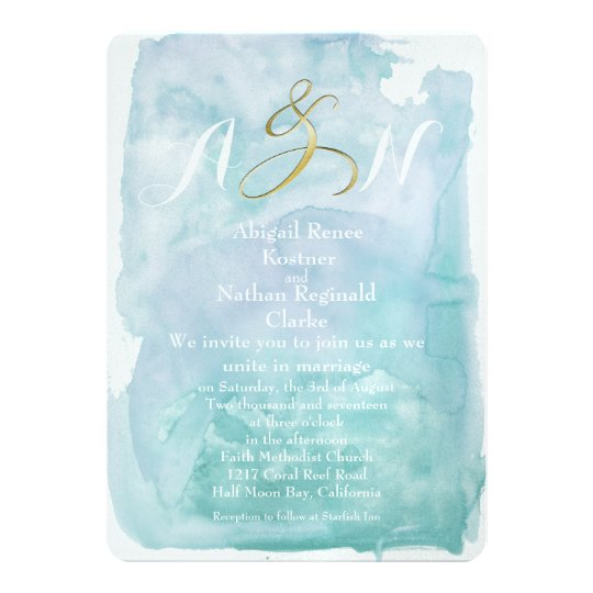 Oceanic Blue Watercolor Wedding Invitation