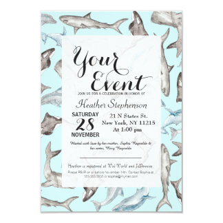 "Oceanic Watercolor Fishes in Blue Black White Gray 3.5"" X 5"" Invitation Card"