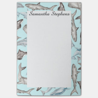 Oceanic Watercolor Fishes in Blue Black White Gray Post-it® Notes