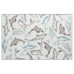 Oceanic Watercolor Fishes in Blue Black White Grey Fabric