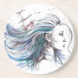"""Oceans"" Girl surreal original art Drink coaster"