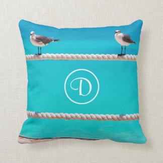 Oceanside beach birds photo custom monogram pillow