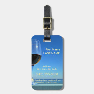 Oceanside Glass of Merlot Tags For Luggage