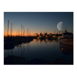 Oceanside Harbor at dusk with the Moon Postcard