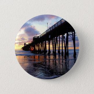 Oceanside Pier at Sunset 3 2 Inch Round Button