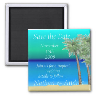 Oceanview Tropical Save the Date Square Magnet