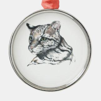 Ocelot1 Silver-Colored Round Ornament
