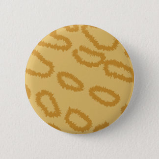 Ocelot Animal Print Pattern, Brown and Tan Colors. 2 Inch Round Button