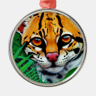 Ocelot in jungle with Red Eye Tree Frog Silver-Colored Round Ornament