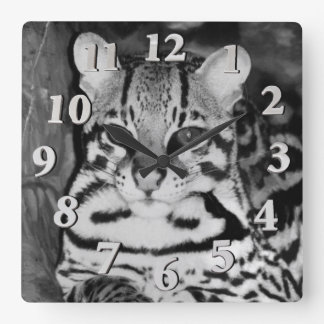 Ocelot in Repose Square Wall Clock