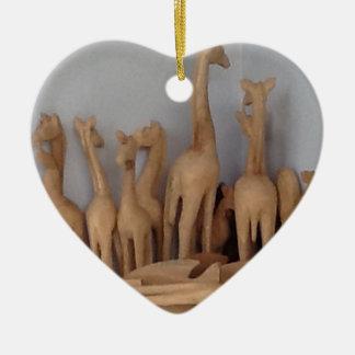 Ocho carvings ceramic heart ornament