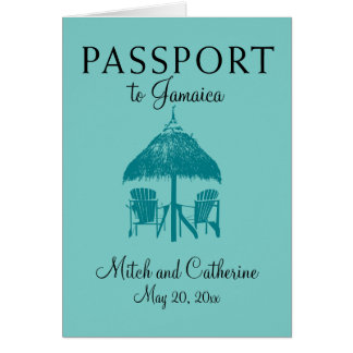 Ocho Rios Jamaica Wedding Passport - Teal Card