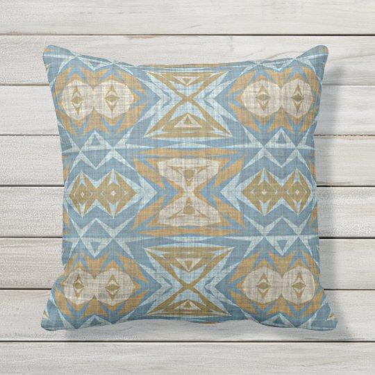 Ochre Beige Brown Teal Blue Eclectic Ethnic Art Outdoor Pillow