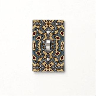 Ochre Brown Red Teal Blue Hip Orient Bali Art Light Switch Cover