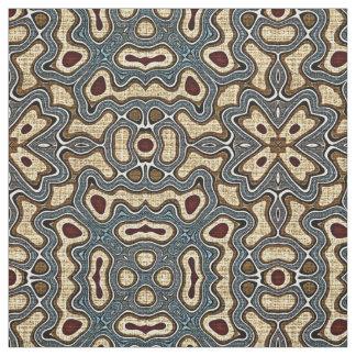 Ochre Brown Teal Blue Dark Red Bali Batik Pattern Fabric