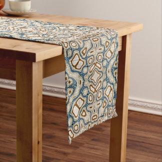 Ochre Brown Teal Blue Oriental Bali Batik Pattern Medium Table Runner