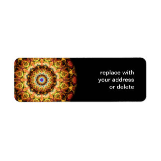 Ochre Burned Glass kaleidoscope Return Address Label