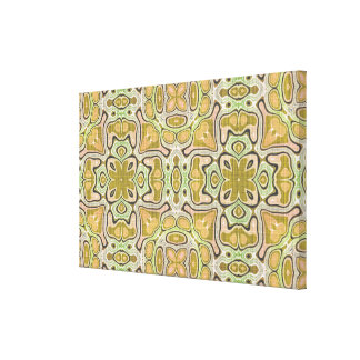 Ochre Yellow Olive Green Hip Ornate Art Pattern Canvas Print
