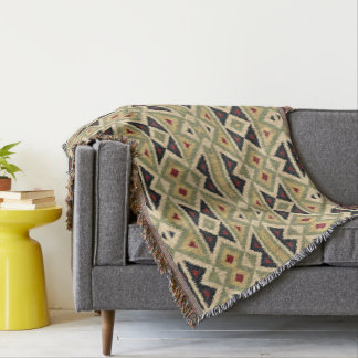 Ochre Yellow Red Olive Green Ethnic Ikat Mosaic Throw Blanket