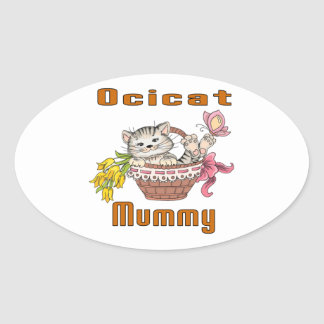 Ocicat Cat Mom Oval Sticker