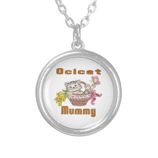 Ocicat Cat Mom Silver Plated Necklace