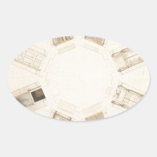 Octagonal Room Oval Sticker