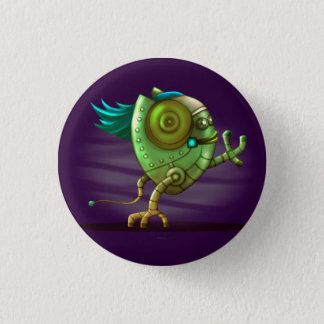 OCTO CUTE ALIEN ROBOT Round Button