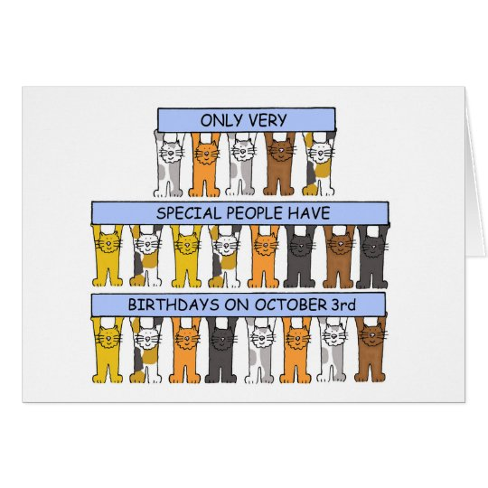 October 3rd Birthday Cats Card