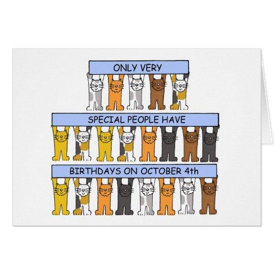 October 4th Birthday Cats Card