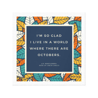 October Autumn Quote Canvas Print