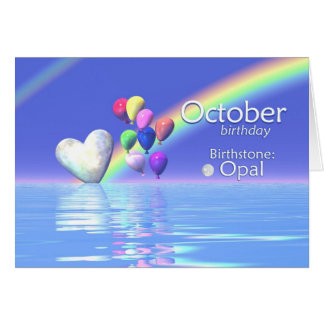 October Birthday Opal Heart Card