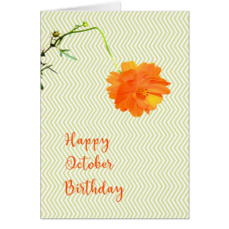 October Birthday with Cosmos Flower Card