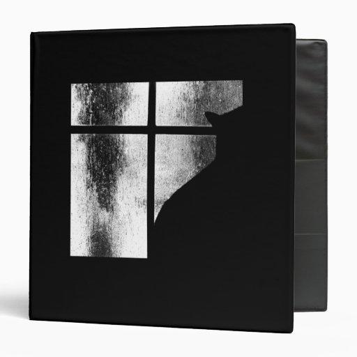 October Showers Black Cat Silhouette At Window BW Vinyl Binders